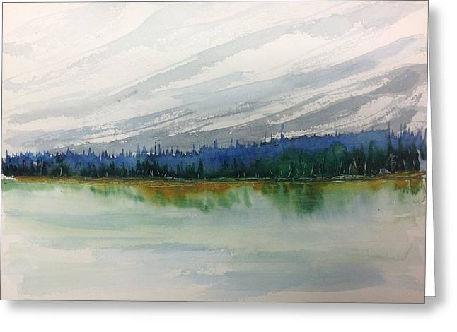 Lakeside - Mountain Foothill  - Banff Greeting Card