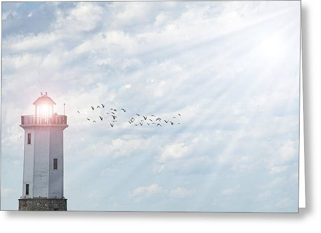 Greeting Card featuring the photograph Lakeside Park Lighthouse by Joel Witmeyer