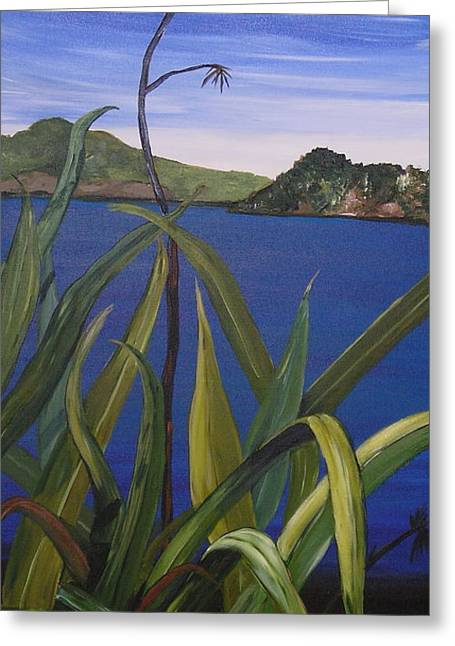 Lakeside Greeting Card by Sher Green