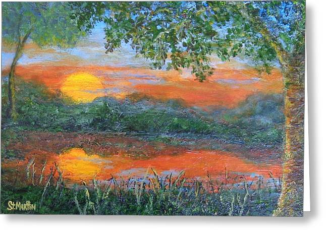 Lakeside Sunset Greeting Card by Annie St Martin