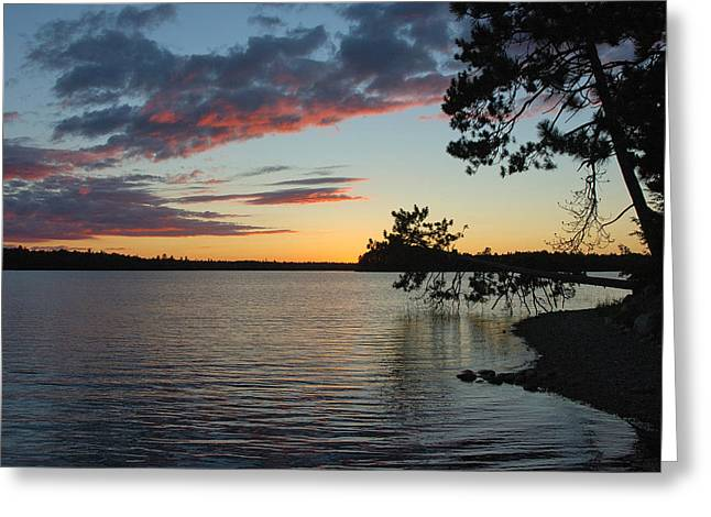 Maine Lake Greeting Cards - Lakeside Sunset Greeting Card by Robert Anschutz