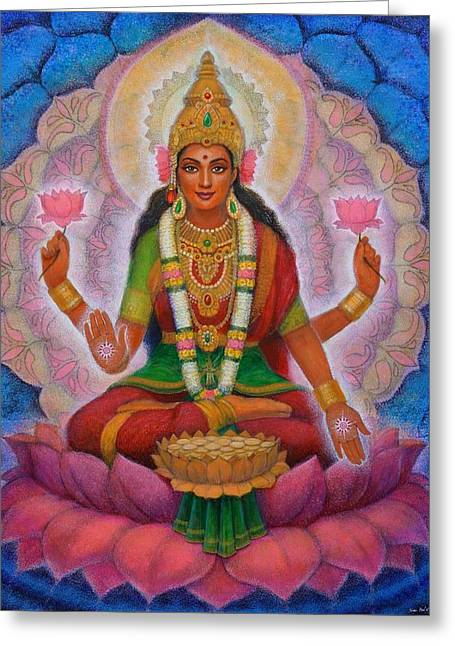 Greeting Card featuring the painting Lakshmi Blessing by Sue Halstenberg