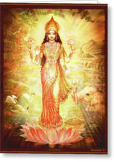 Lakshmi Goddess Of Fortune Greeting Card by Ananda Vdovic