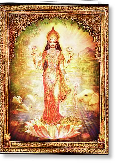 Lakshmi Goddess Of Fortune With Lighter Frame Greeting Card