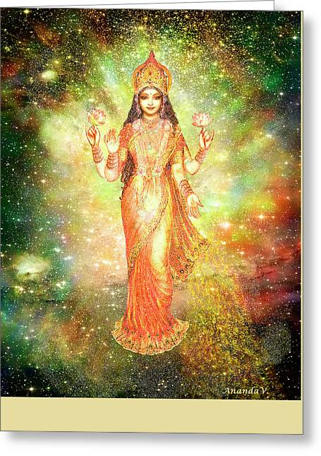 Lakshmi In A Galaxy  Greeting Card by Ananda Vdovic