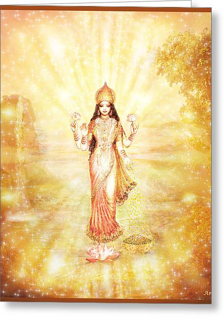 Lakshmi With The Waterfall - Light Greeting Card by Ananda Vdovic