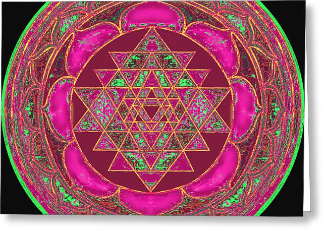 Hindu Goddess Digital Greeting Cards - Lakshmi Yantra Mandala Greeting Card by Svahha Devi