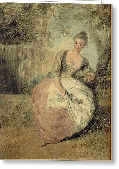 L'amante Inquiete Greeting Card by Antoine Watteau