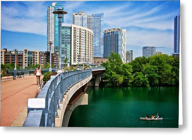 Lamar Bridge, Town Lake, And The City Of Austin, Texas Greeting Card