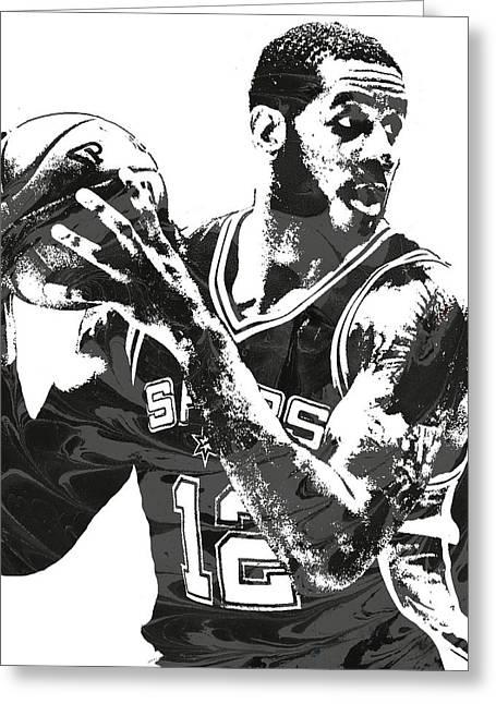 Lamarcus Aldridge San Antonio Spurs Pixel Art Greeting Card