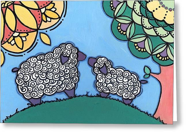 Lamb And Mama Sheep Greeting Card