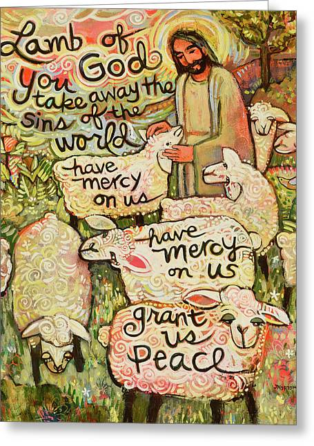 Lamb Of God Greeting Card by Jen Norton