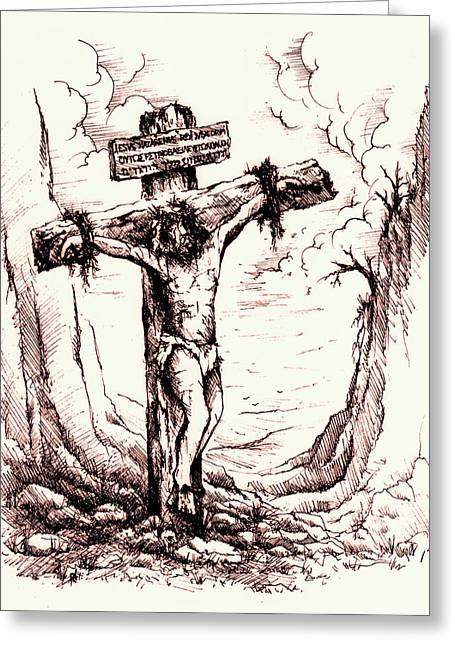 Lamb Of God Greeting Card by Rachel Christine Nowicki