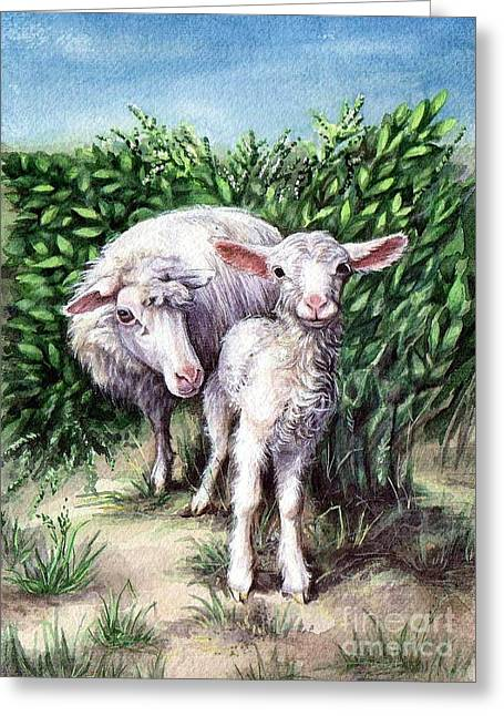Lamb With His Mother Greeting Card by Larissa Prince
