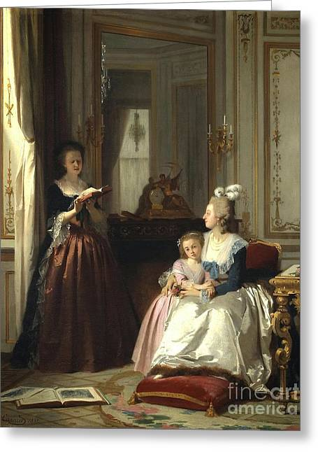 Lamballe Reading To Marie Antoinette  Greeting Card