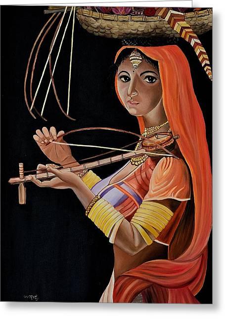 Lambani Girl Greeting Card by Usha Rai