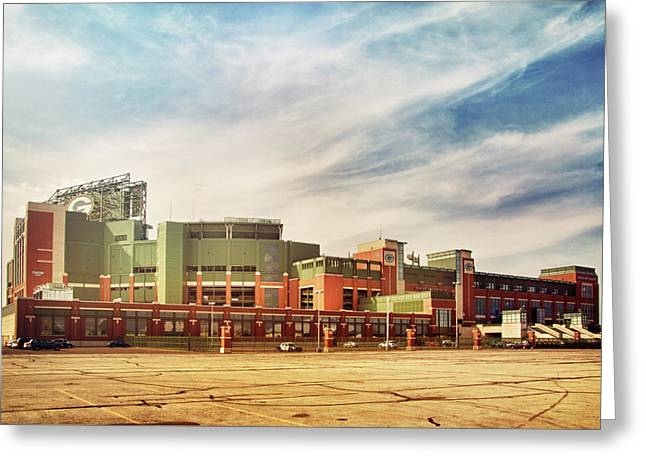 Greeting Card featuring the photograph Lambeau Field Retro Feel by Joel Witmeyer
