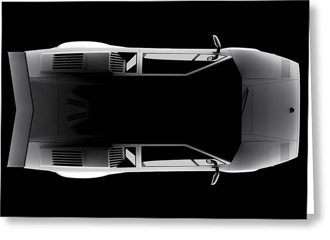 Lamborghini Countach 5000 Qv 25th Anniversary - Top View Greeting Card