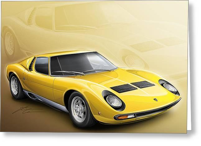 Lamborghini Miura Sv 1966-1973 Greeting Card by Etienne Carignan