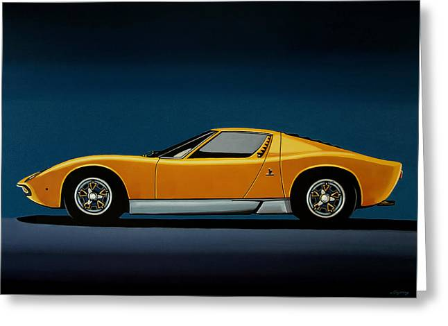 Lamborghini Miura 1966 Painting Greeting Card by Paul Meijering