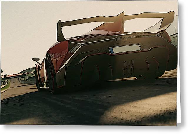 Lamborghini Veneno - Rear View Greeting Card by Andrea Mazzocchetti