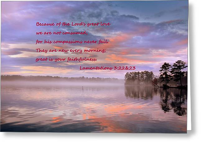 Lamentations 3 22 And 23 Good Morning Greeting Card by Lisa Wooten