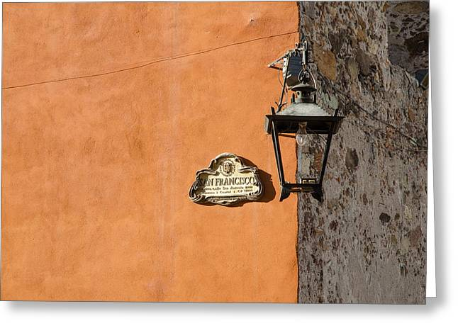 Greeting Card featuring the photograph Lamp At The Corner. by Rob Huntley