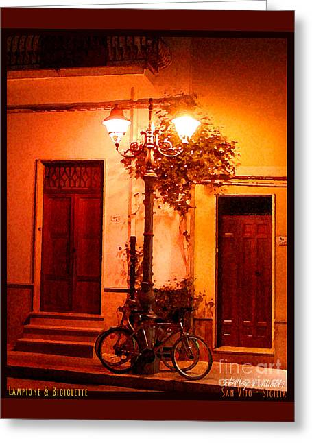 Lampione And Biciclette Greeting Card by Shelley A Aliotti