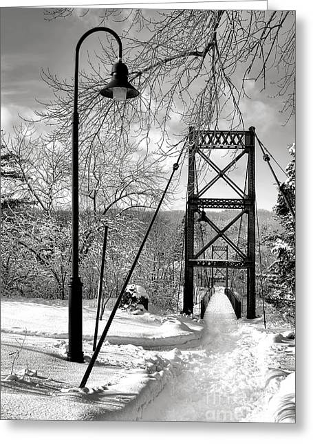 Lamppost And Androscoggin Swinging Bridge In Winter Greeting Card by Olivier Le Queinec