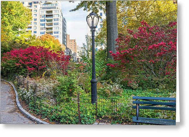 Lamppost And Bench Greeting Card