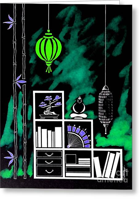 Lamps, Books, Bamboo -- Negative 2 Greeting Card