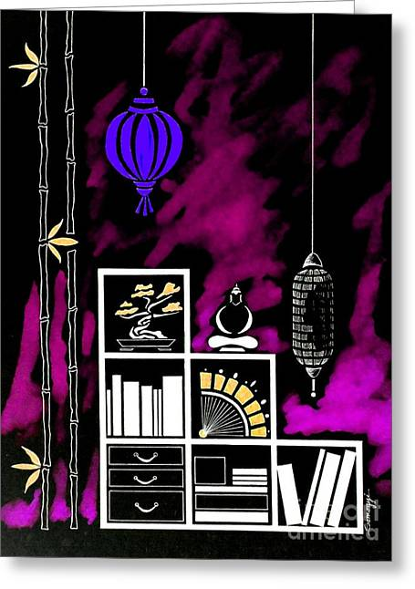Lamps, Books, Bamboo -- Negative 3 Greeting Card