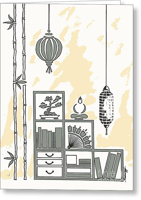 Lamps, Books, Bamboo -- Neutrals Greeting Card