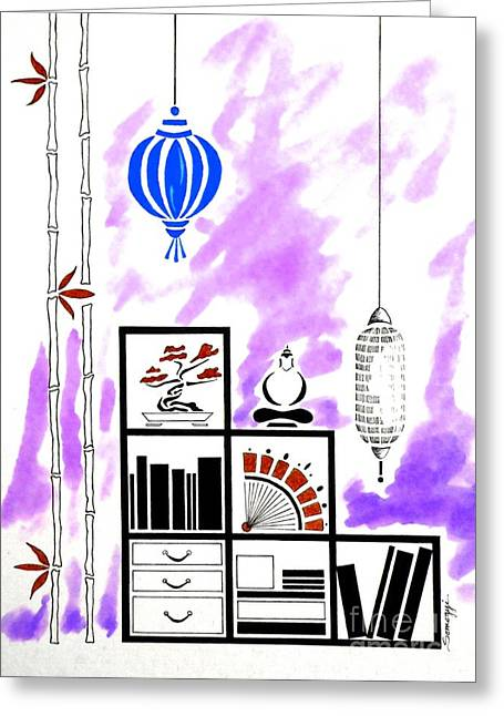 Lamps, Books, Bamboo -- Purple Greeting Card