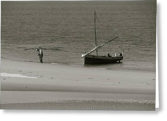Lamu Island - Wooden Fishing Dhow Getting Unloaded - Black And White Greeting Card by Exploramum Exploramum