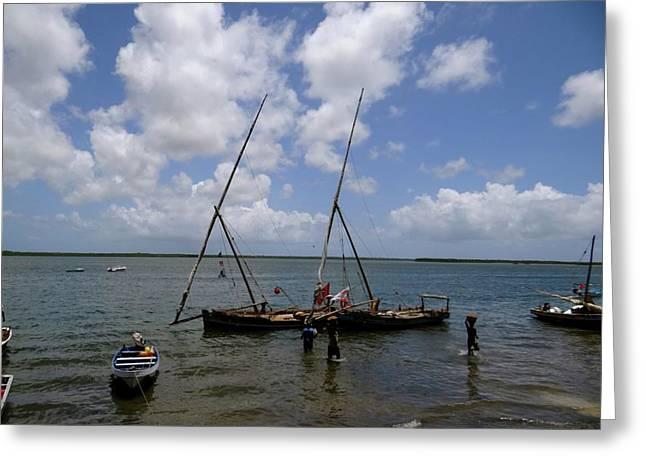 Lamu Island - Wooden Fishing Dhows Being Unpacked Greeting Card by Exploramum Exploramum