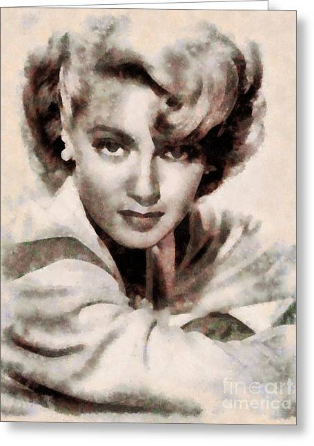 Lana Turner Vintage Hollywood Actress Greeting Card by Sarah Kirk