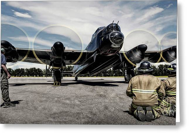 Greeting Card featuring the photograph Lancaster Engine Test by Brad Allen Fine Art