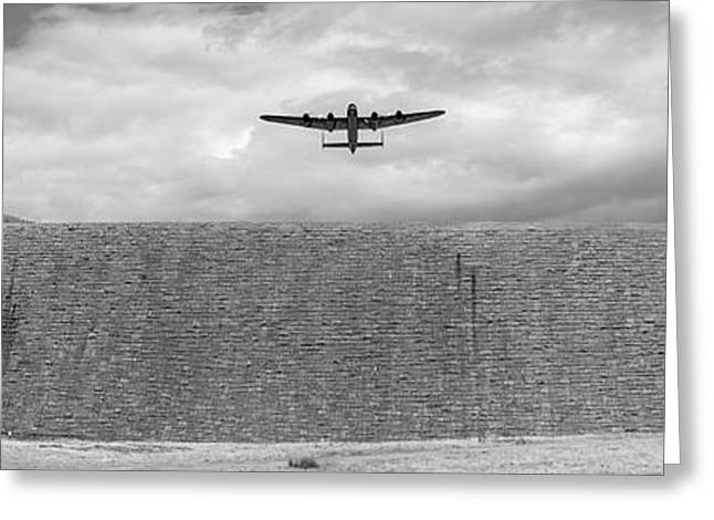 Greeting Card featuring the photograph Lancaster Over The Derwent Dam Bw Version by Gary Eason