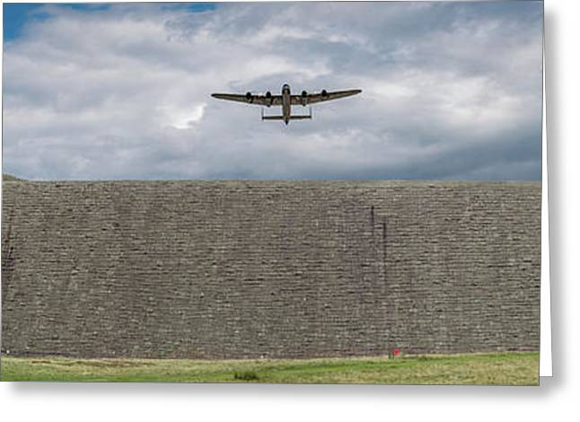 Greeting Card featuring the photograph Lancaster Over The Derwent Dam by Gary Eason