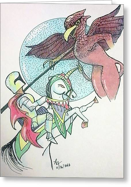 Lancelot And Griffin  Greeting Card by Loretta Nash