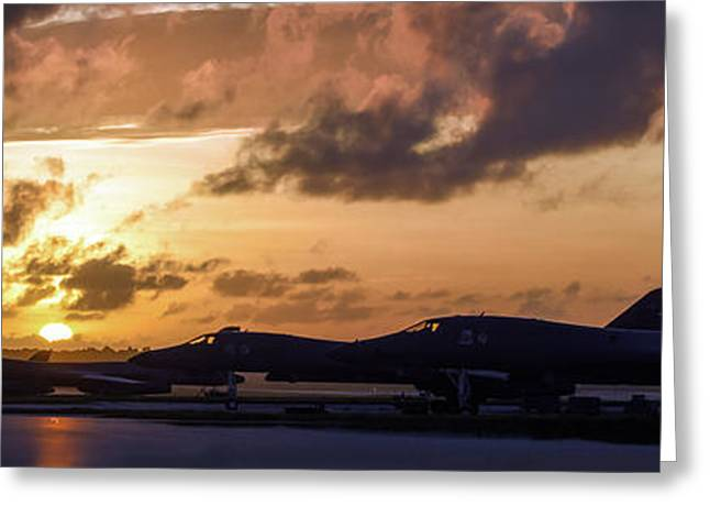 Greeting Card featuring the photograph Lancer Flightline by Peter Chilelli