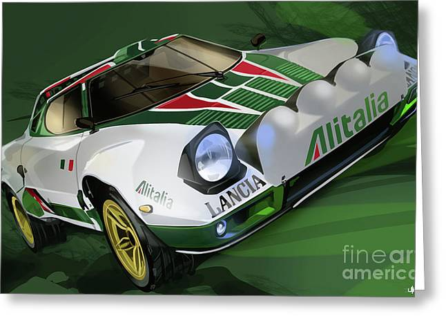 Rally Greeting Cards - Lancia Stratos HF Rally Car Greeting Card by Uli Gonzalez