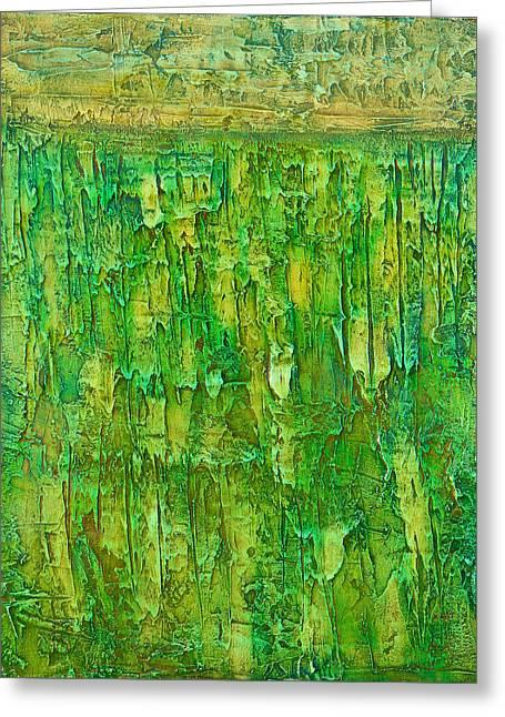Land In Green Greeting Card by Habib Ayat