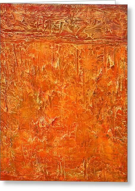 Land In Orange Greeting Card by Habib Ayat