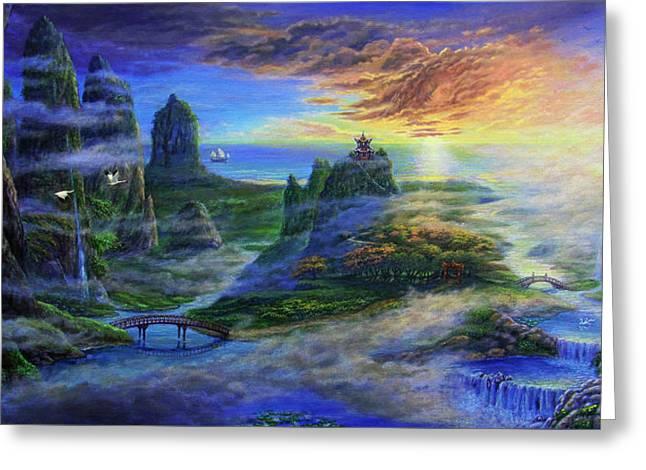 Land Of Guanyin Greeting Card by Reb Benno