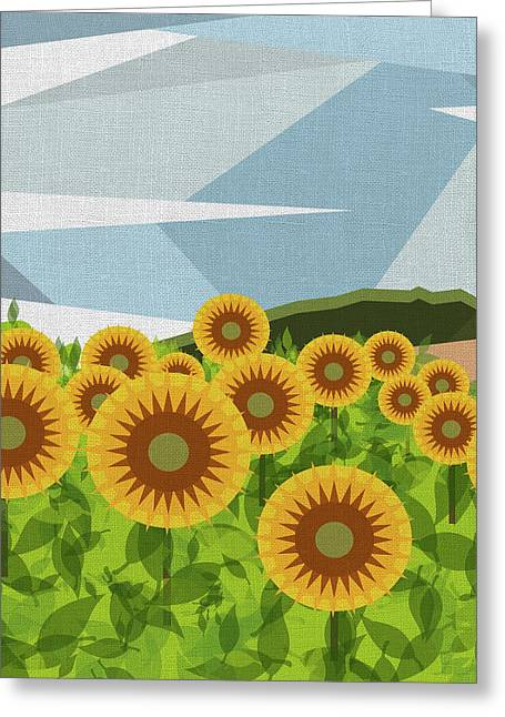 Land Of Sunflowers. Greeting Card by Absentis Designs