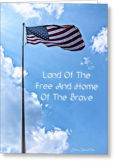 Land Of The Free Greeting Card by Joann Copeland-Paul