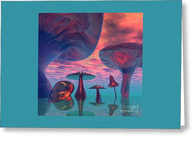 Land Of The Giant Mushrooms Greeting Card by Corey Ford