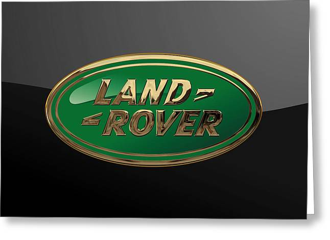 Land Rover - 3d Badge On Black Greeting Card